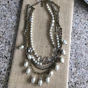 Pearl, crystal and brass necklace